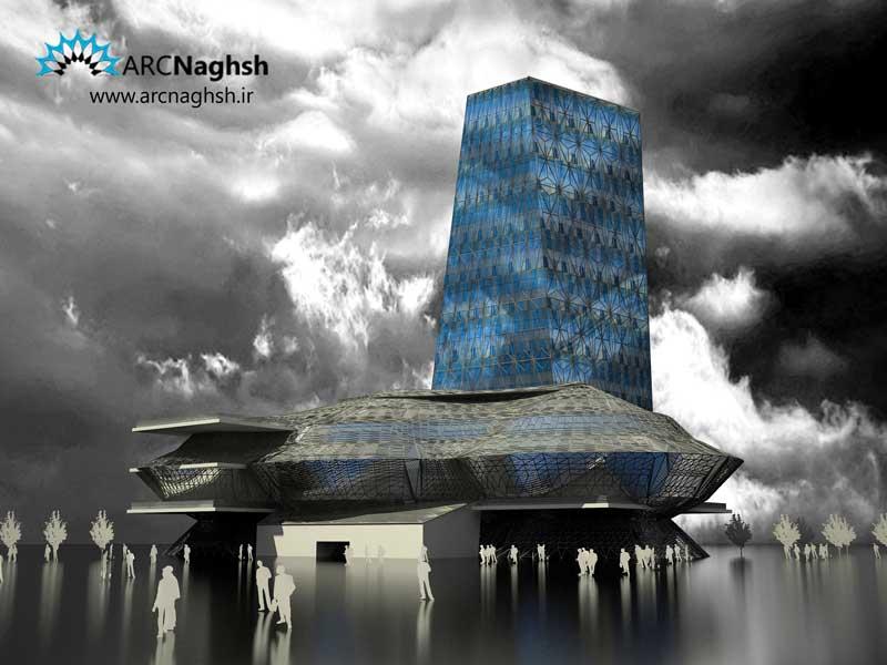 ساختمان تجاری با سازه فضایی